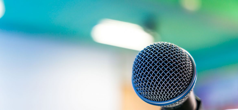 Black microphone in conference room ( Filtered image processed v